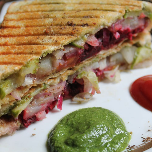 Veg Club Grill Sandwich - Snacks - Cafe Choco Craze