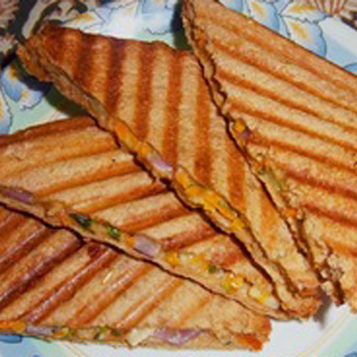 Veg Onion Capsicum Grill - Sandwich- Snacks - Cafe Choco Craze
